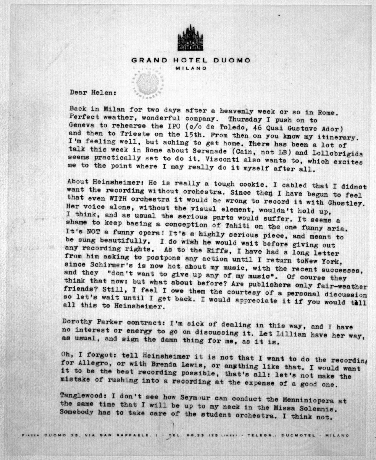 Letter from Leonard Bernstein to Helen Coates, 1955