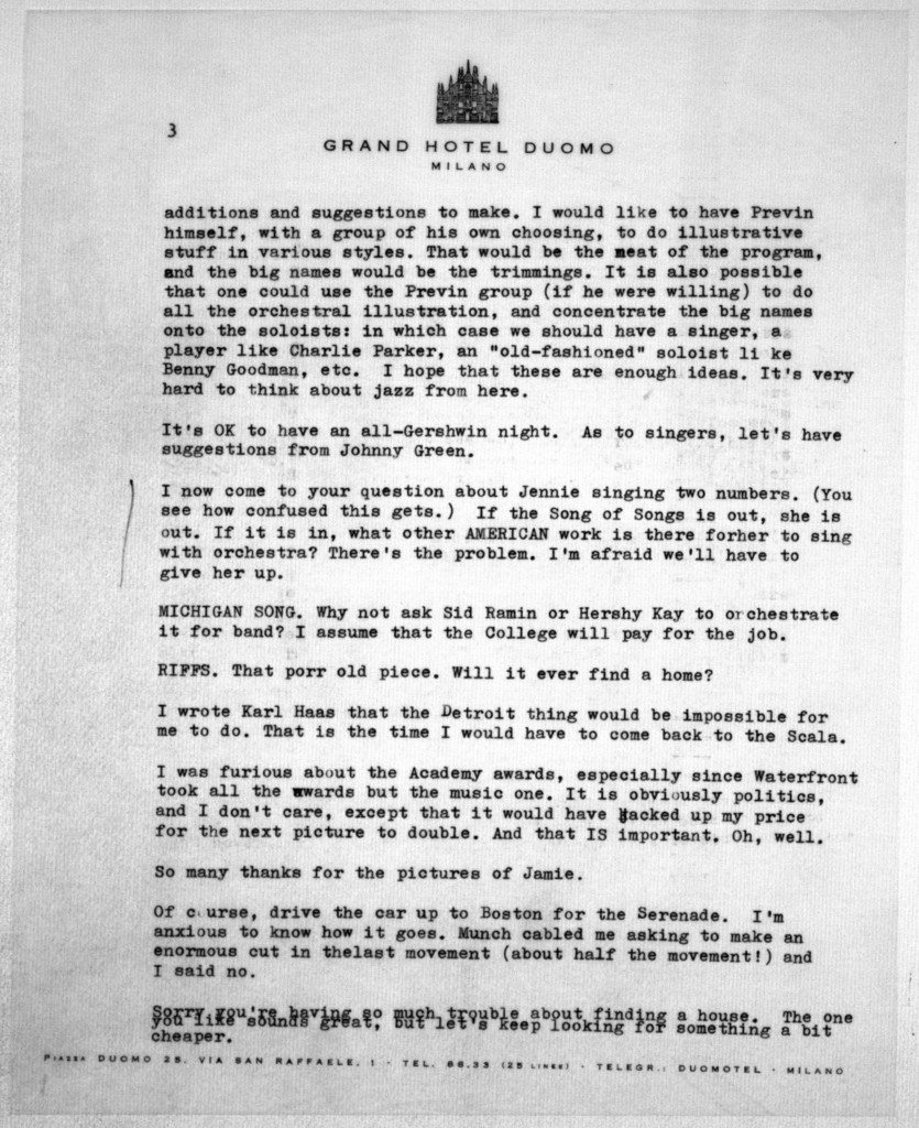 Letter from Leonard Bernstein to Helen Coates, April 11, 1955