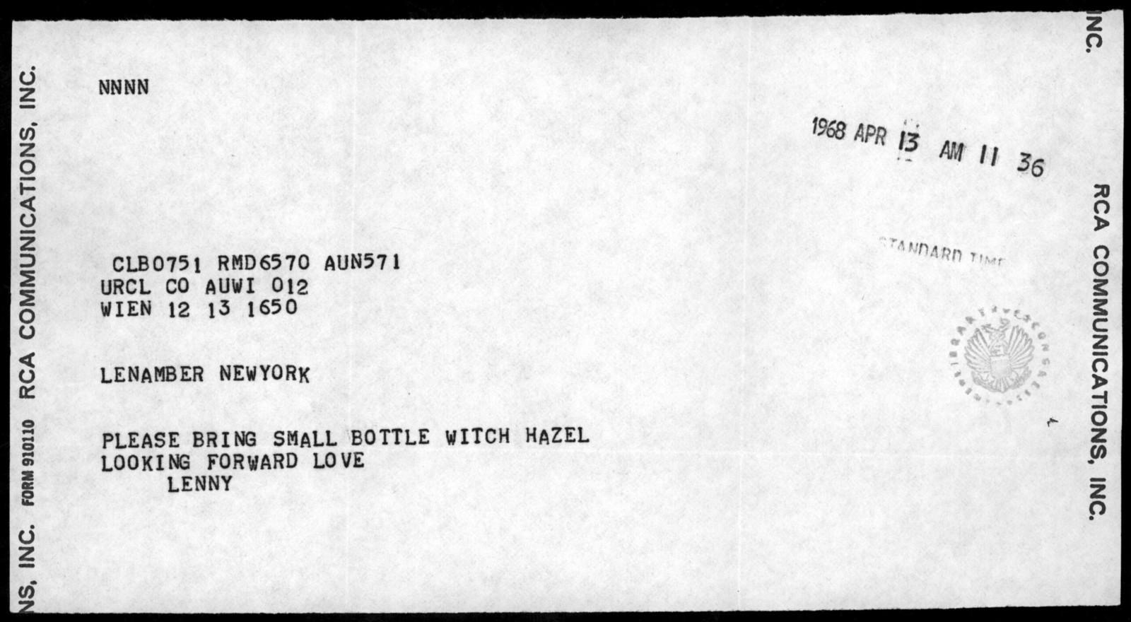 Letter from Leonard Bernstein to Helen Coates, April 13, 1968