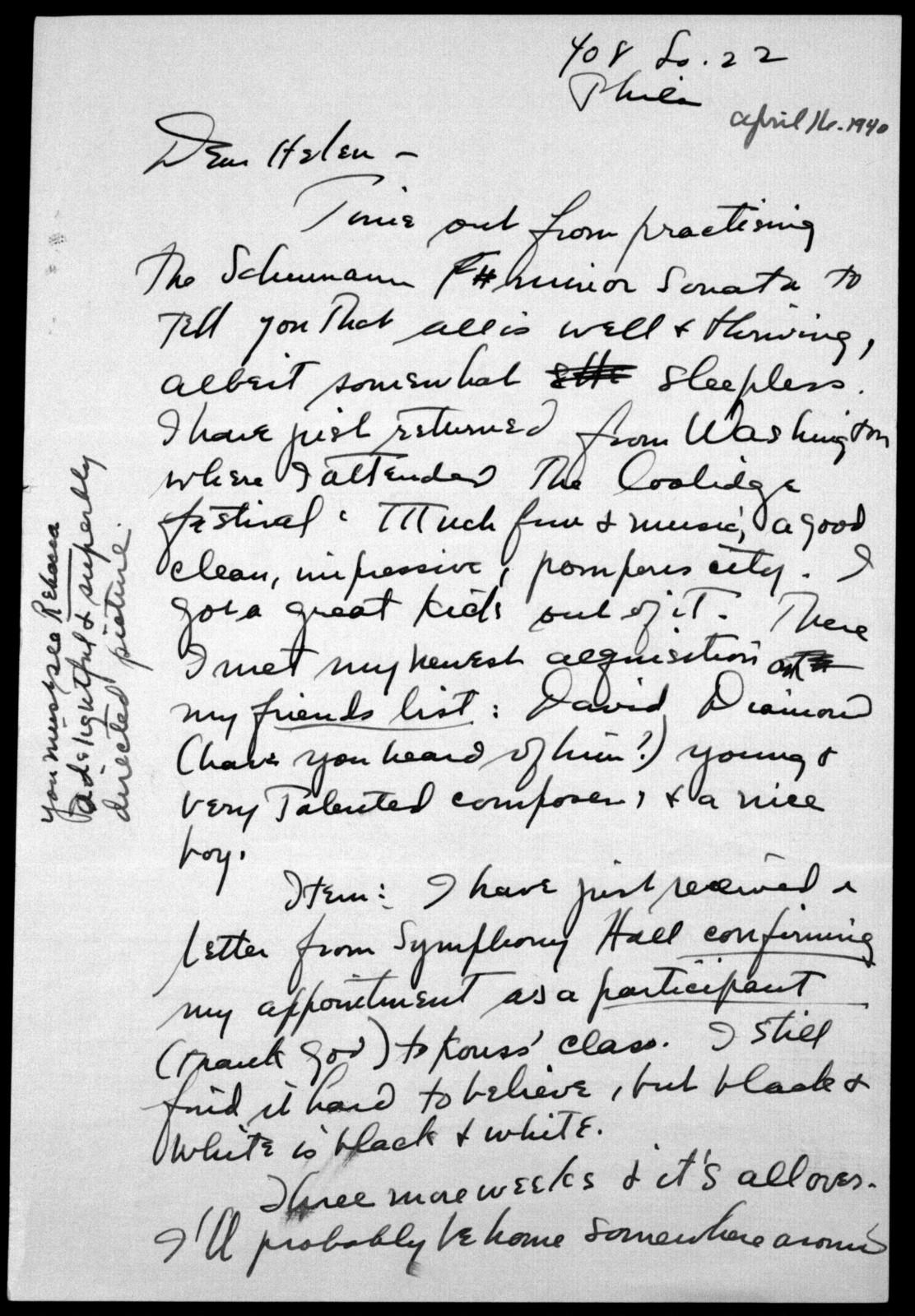 Letter from Leonard Bernstein to Helen Coates, April 16, 1940