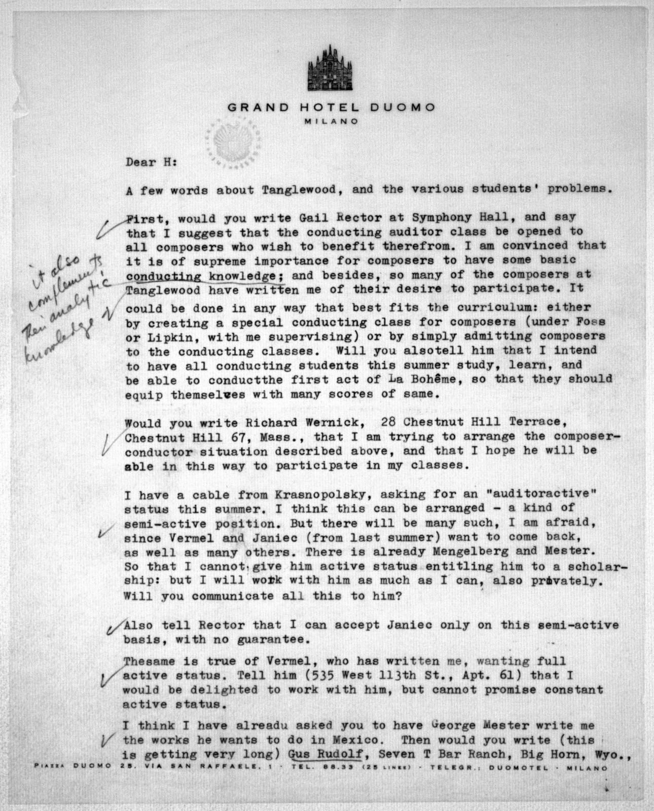 Letter from Leonard Bernstein to Helen Coates, April 18, 1955