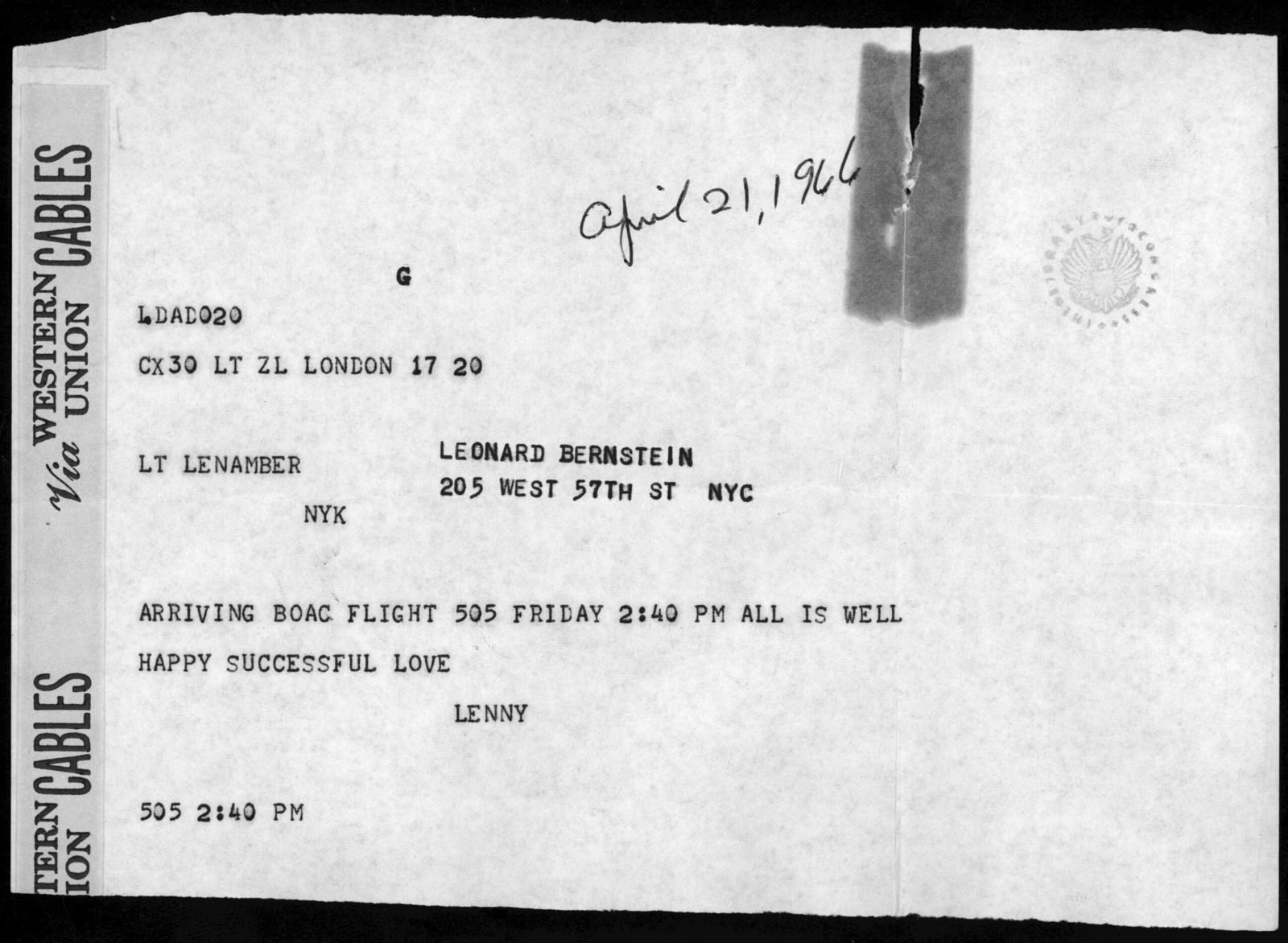 Letter from Leonard Bernstein to Helen Coates, April 21, 1966
