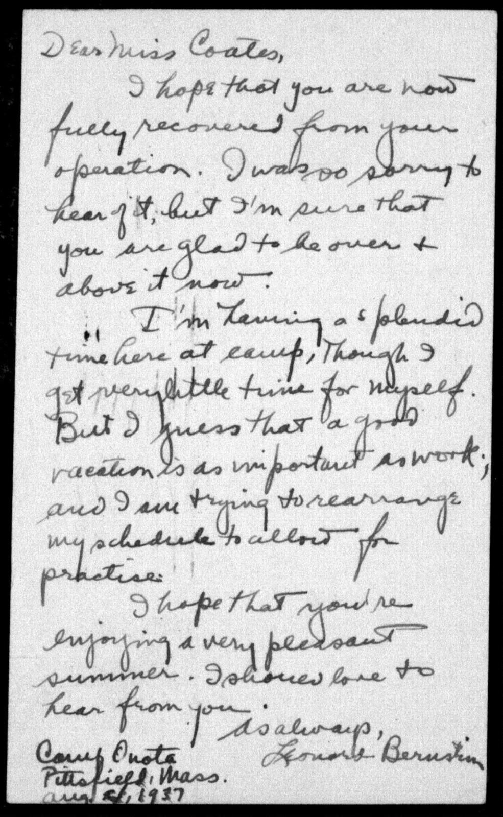Letter from Leonard Bernstein to Helen Coates, August 1937