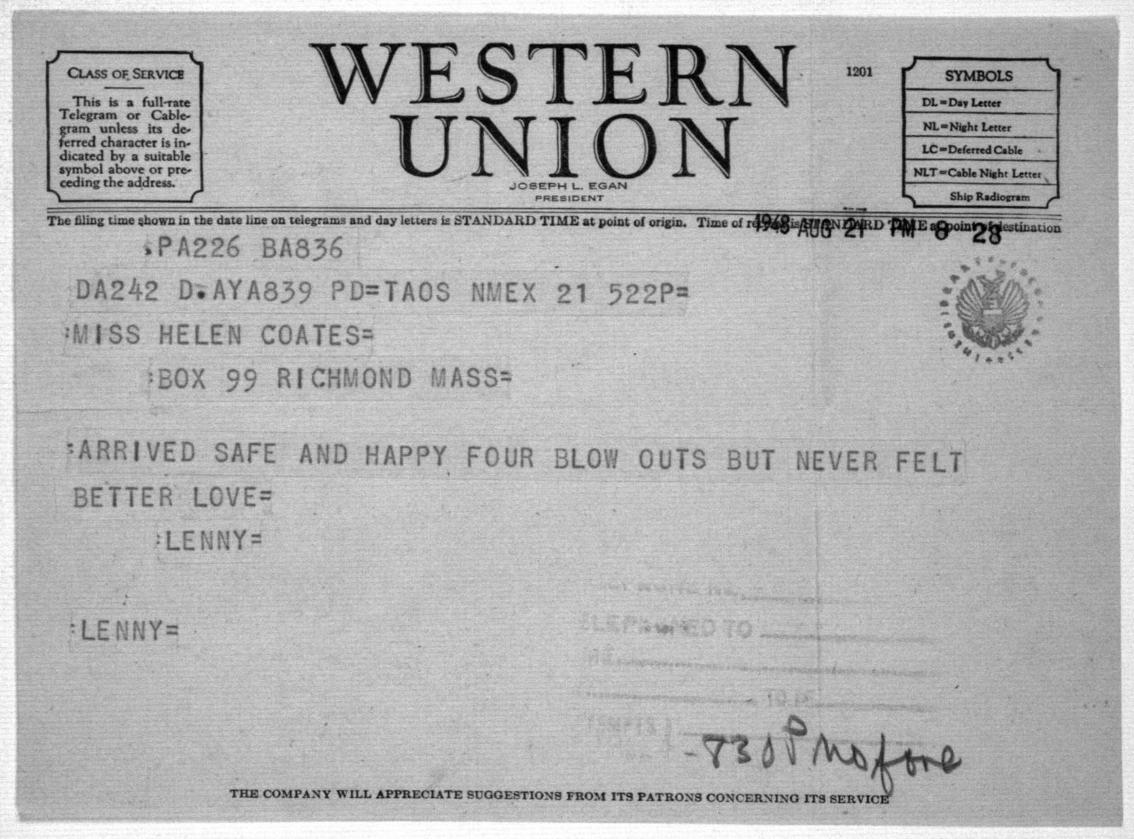 Letter from Leonard Bernstein to Helen Coates, August 21, 1948