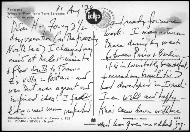 Letter from Leonard Bernstein to Helen Coates, August 31, 1979