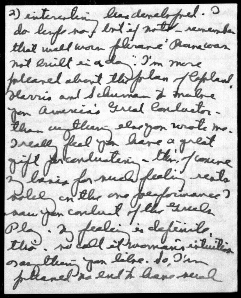 Letter from Leonard Bernstein to Helen Coates, August 7, 1939