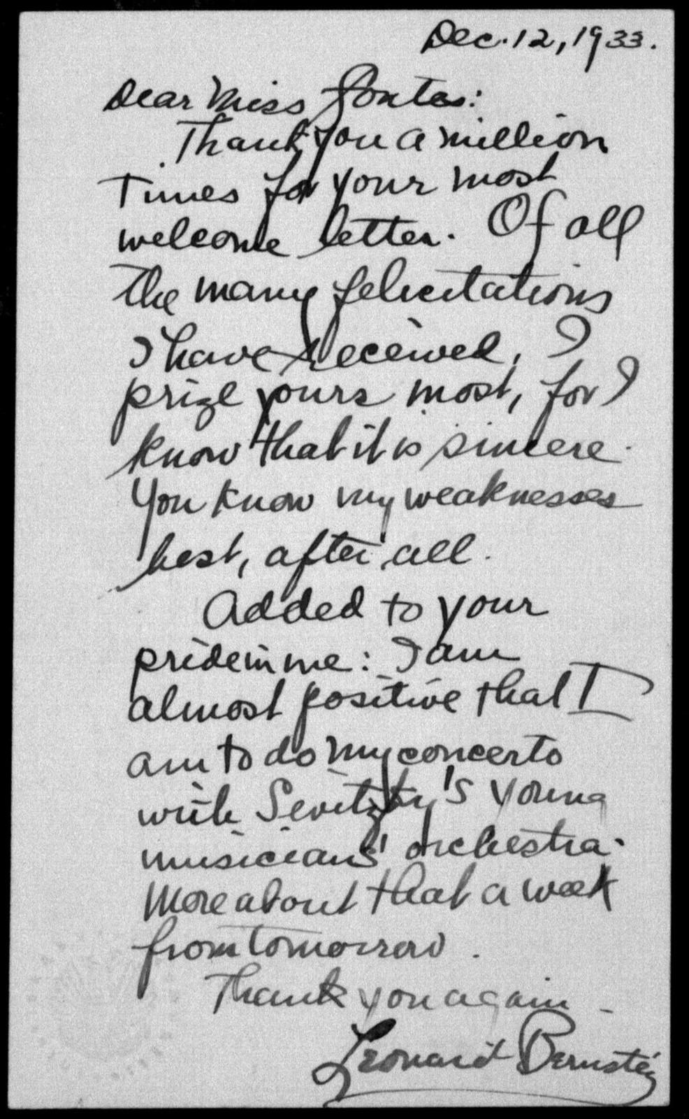 Letter from Leonard Bernstein to Helen Coates, December 12, 1933