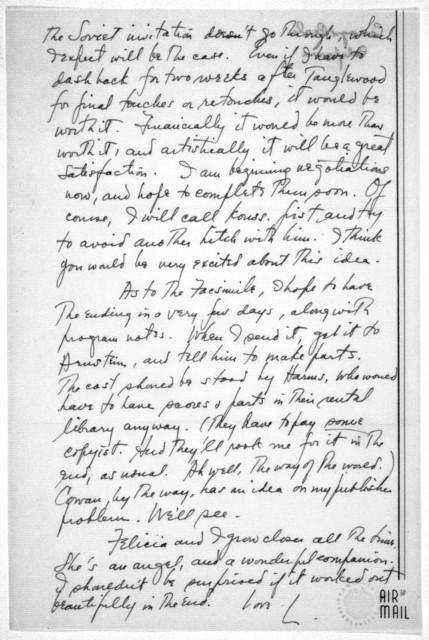 Letter from Leonard Bernstein to Helen Coates, December 12, 1946