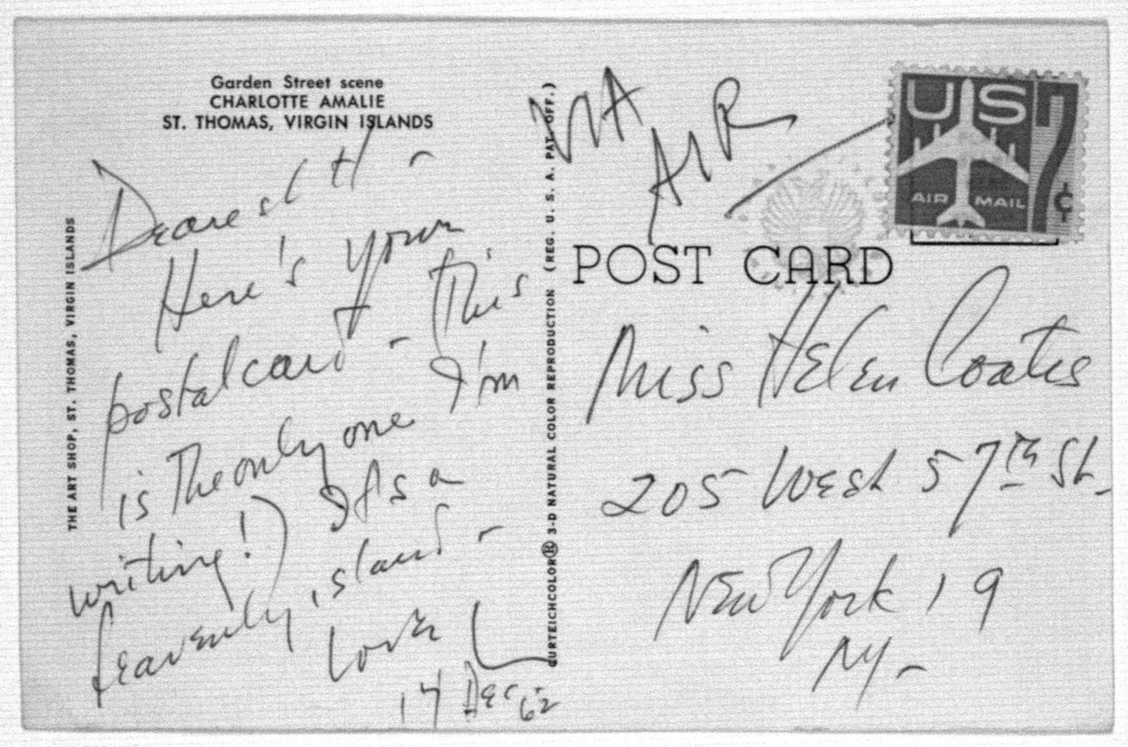Letter from Leonard Bernstein to Helen Coates, December 14, 1962
