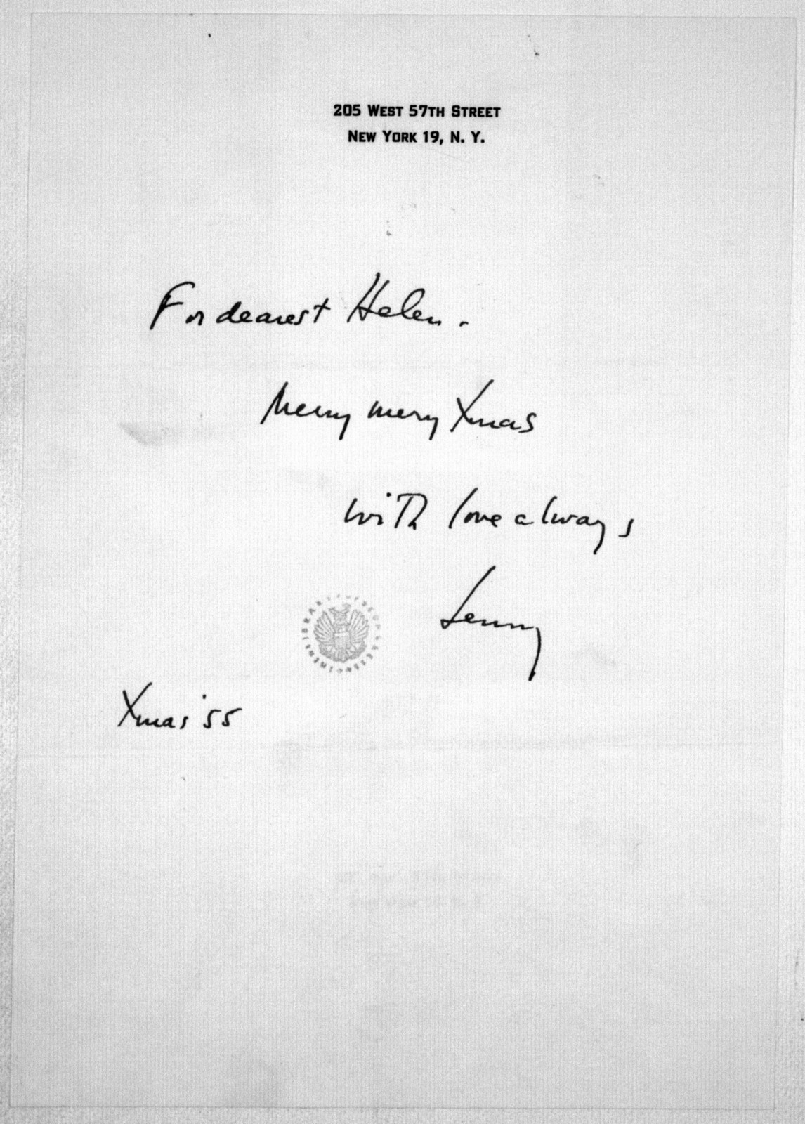 Letter from Leonard Bernstein to Helen Coates, December 1955