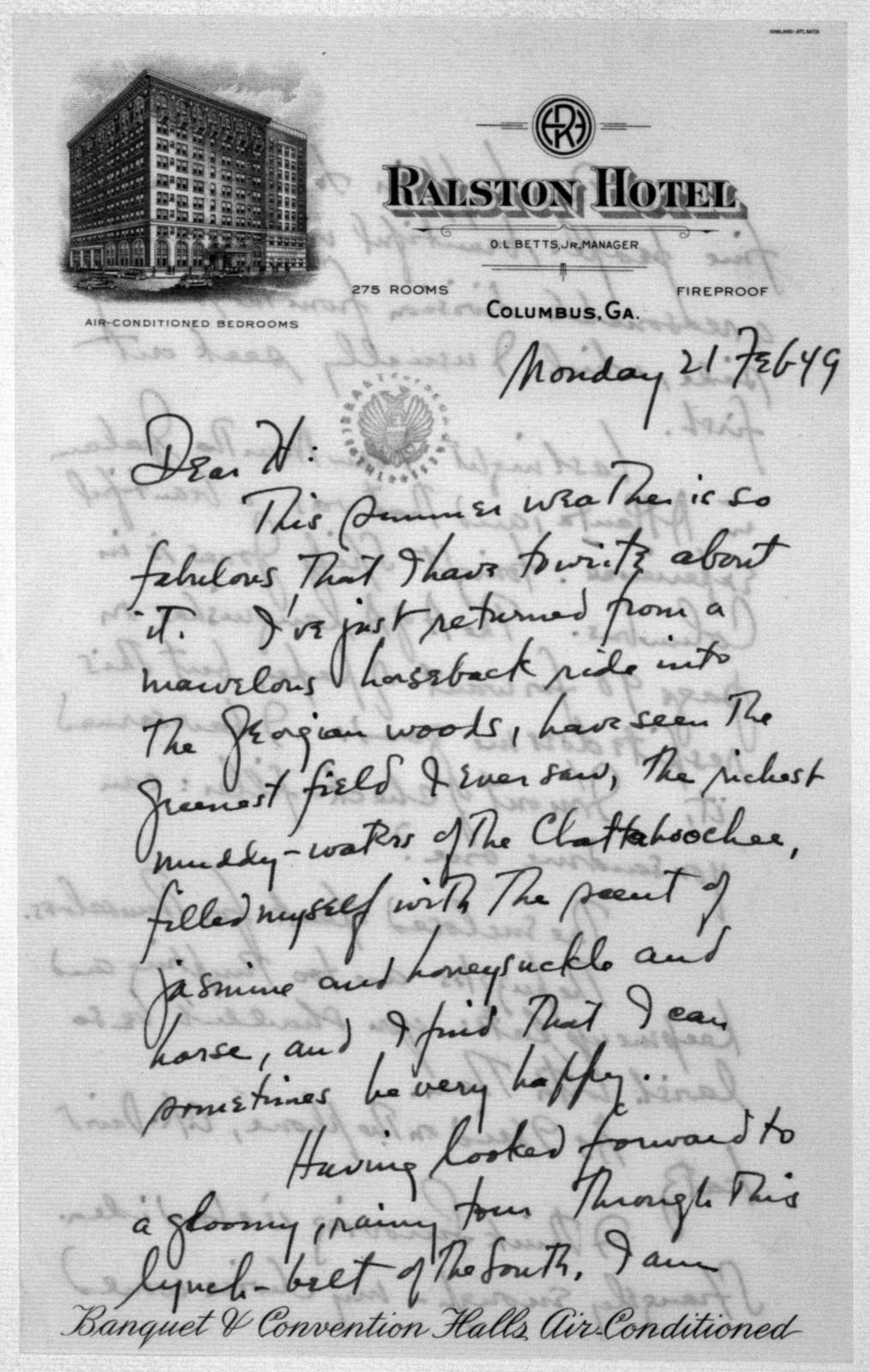 Letter from Leonard Bernstein to Helen Coates, February 21, 1949