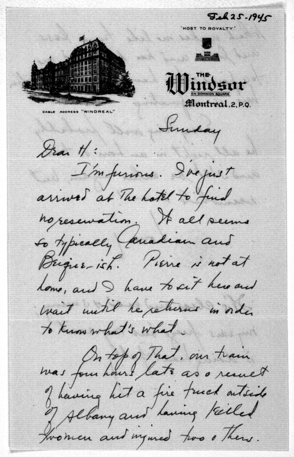 Letter from Leonard Bernstein to Helen Coates, February 25, 1945