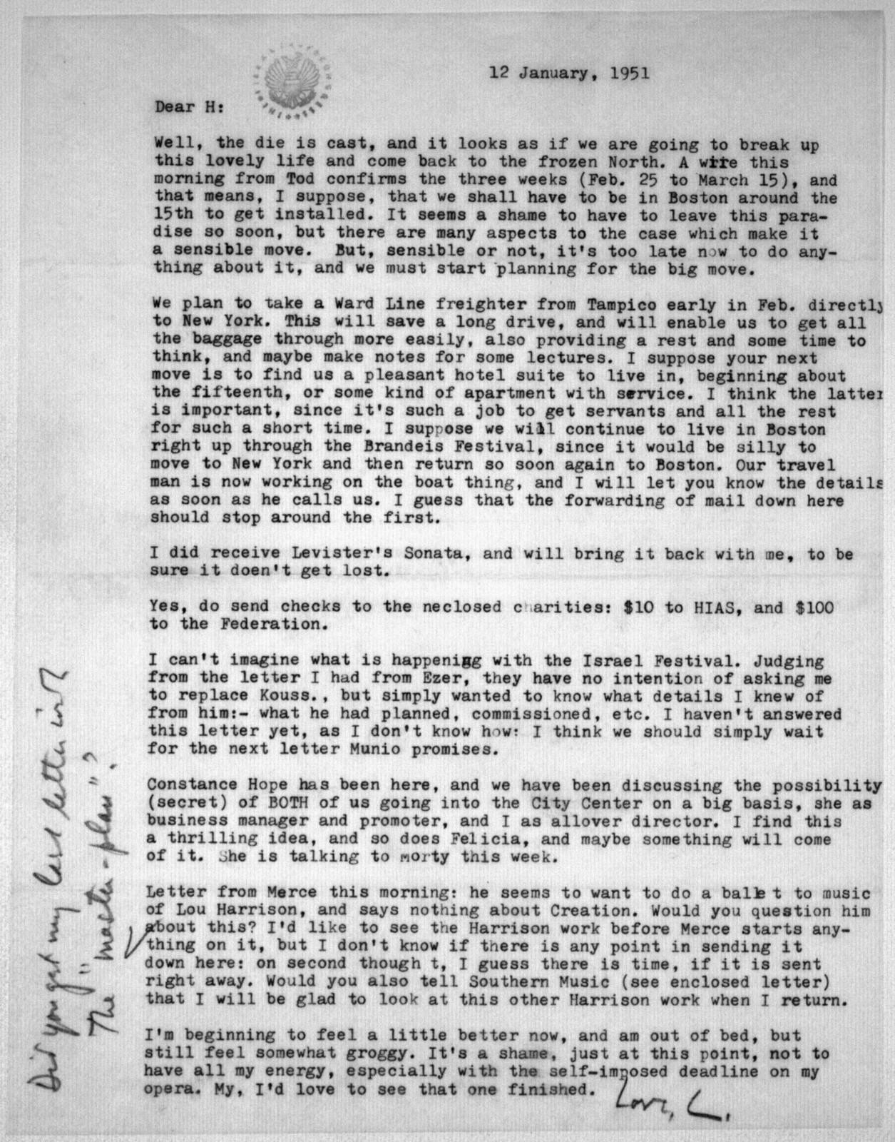 Letter from Leonard Bernstein to Helen Coates, January 12, 1951
