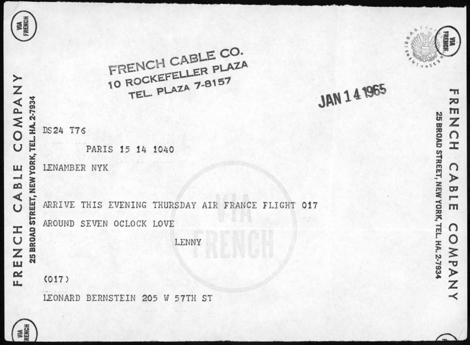 Letter from Leonard Bernstein to Helen Coates, January 14, 1965
