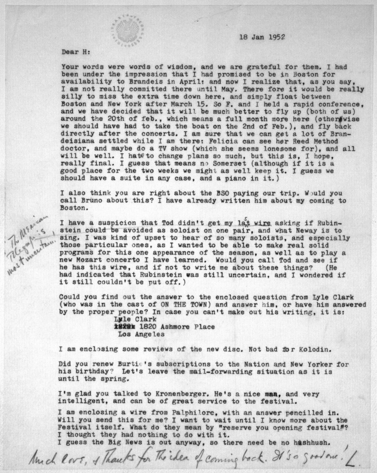 Letter from Leonard Bernstein to Helen Coates, January 18, 1952