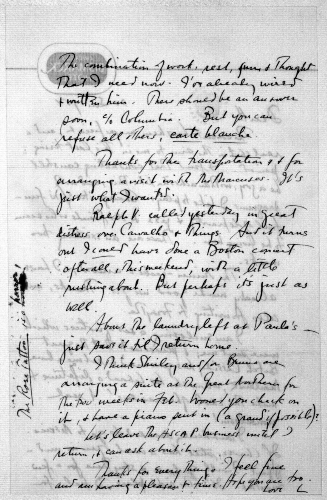 Letter from Leonard Bernstein to Helen Coates, January 20, 1951