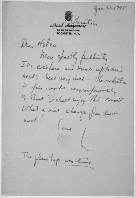 Letter from Leonard Bernstein to Helen Coates, January 31, 1945