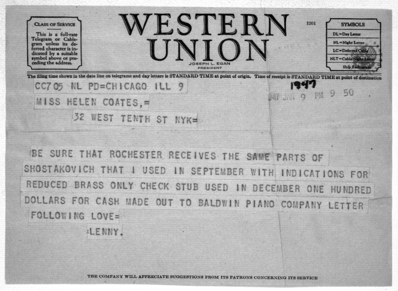 Letter from Leonard Bernstein to Helen Coates, January 9, 1947