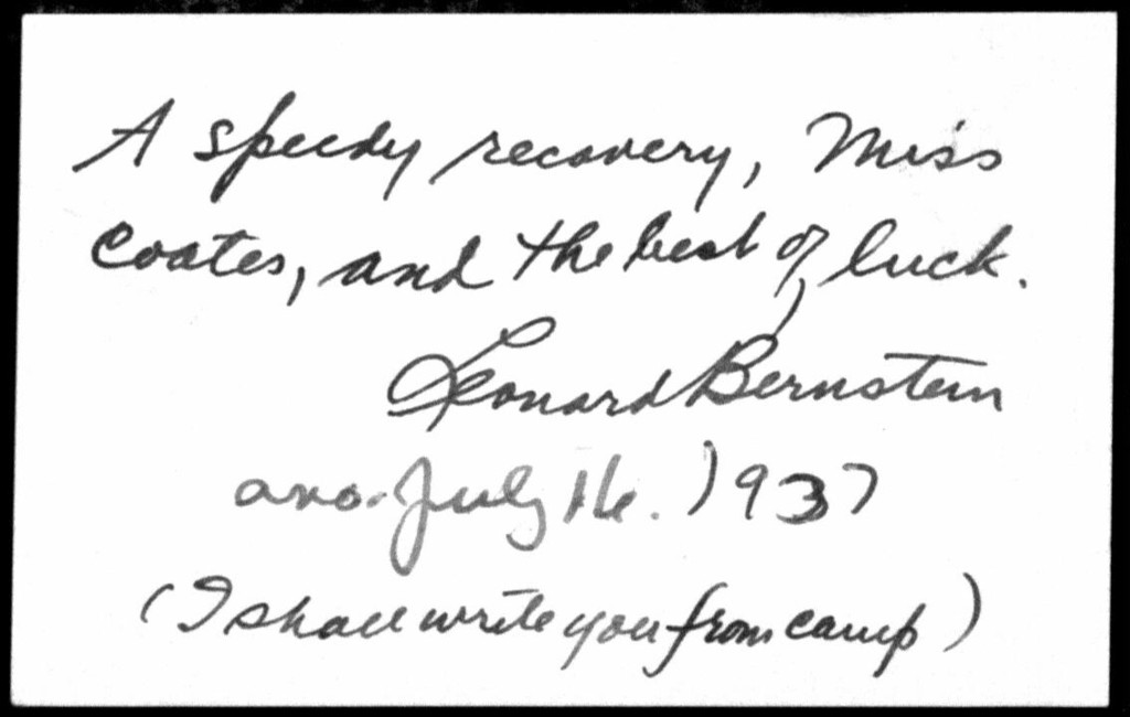 Letter from Leonard Bernstein to Helen Coates, July 16, 1937