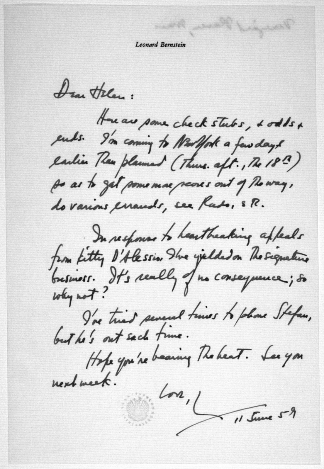 Letter from Leonard Bernstein to Helen Coates, June 11, 1959