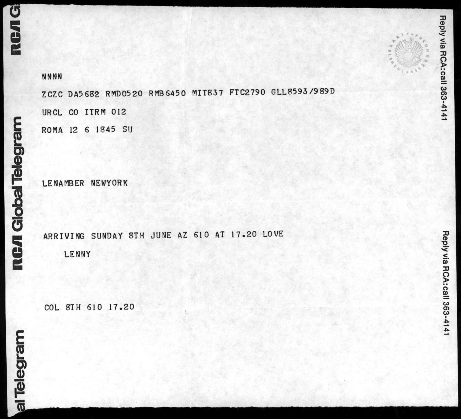 Letter from Leonard Bernstein to Helen Coates, June 1969
