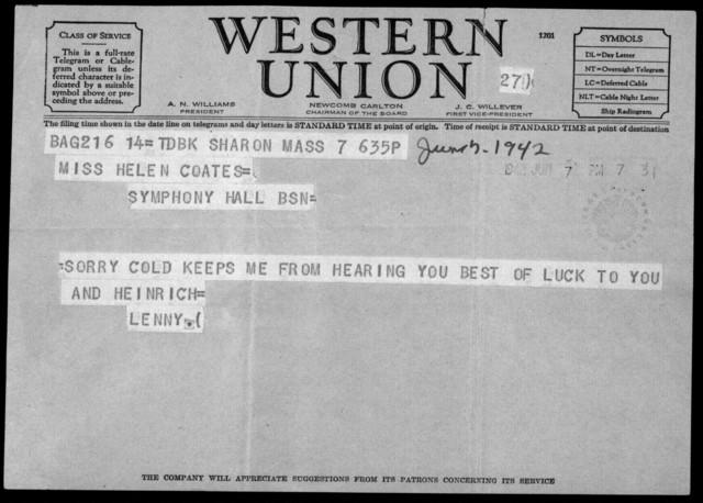Letter from Leonard Bernstein to Helen Coates, June 7, 1942