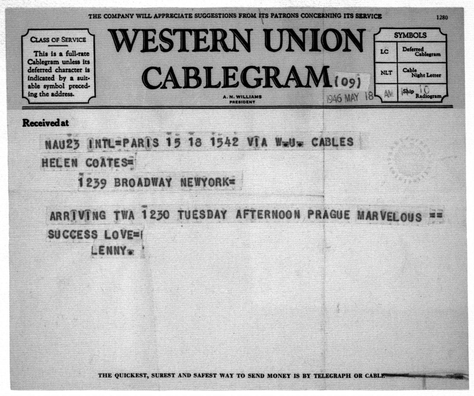 Letter from Leonard Bernstein to Helen Coates, May 18, 1946