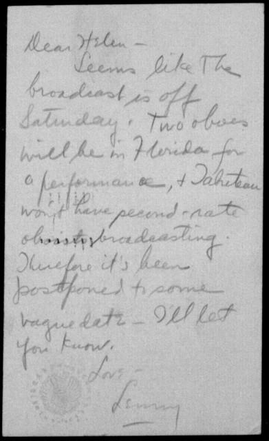 Letter from Leonard Bernstein to Helen Coates, n.d.
