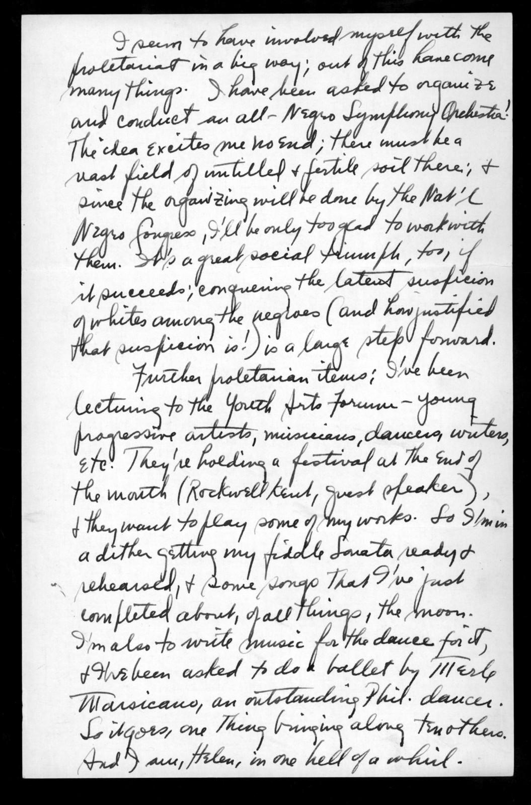 Letter from Leonard Bernstein to Helen Coates, November 11, 1940