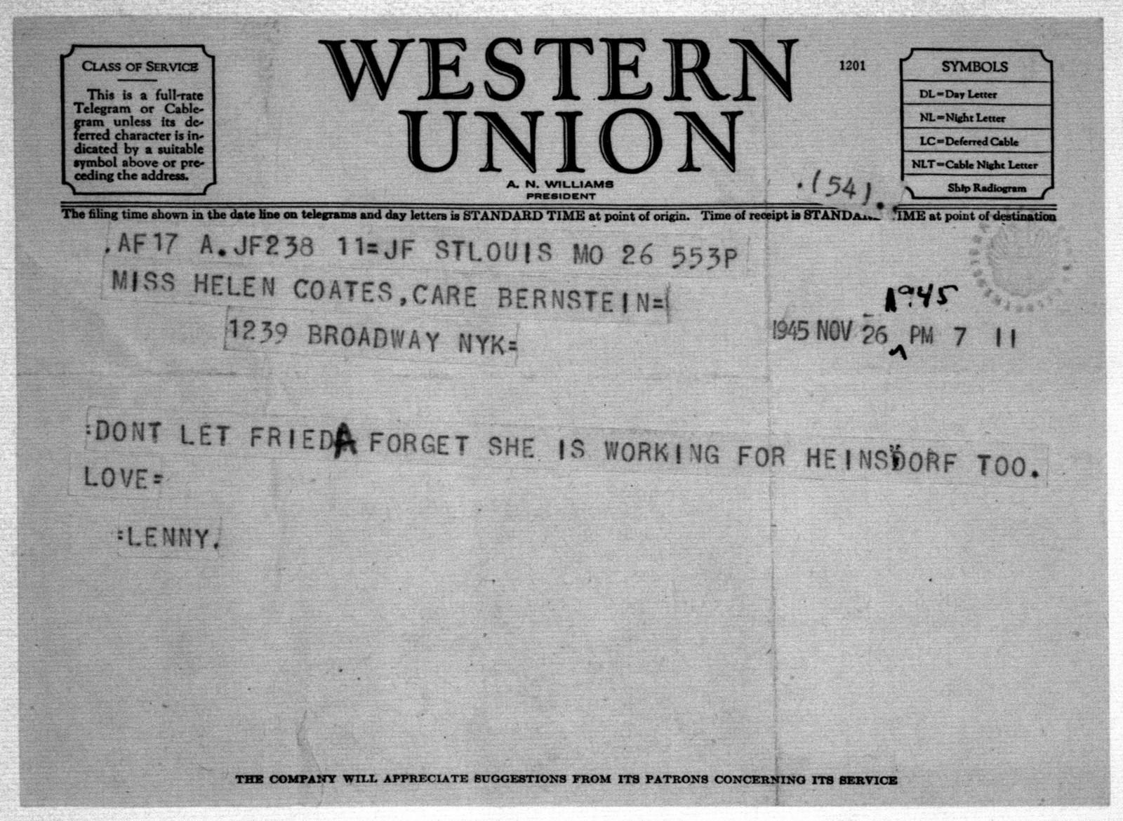 Letter from Leonard Bernstein to Helen Coates, November 26, 1945