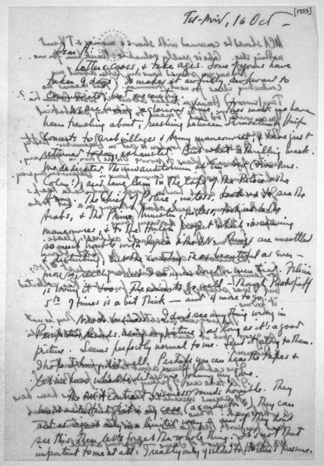 Letter from Leonard Bernstein to Helen Coates, October 16, 1953