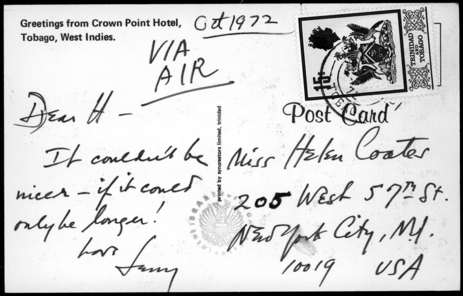 Letter from Leonard Bernstein to Helen Coates, October 1972