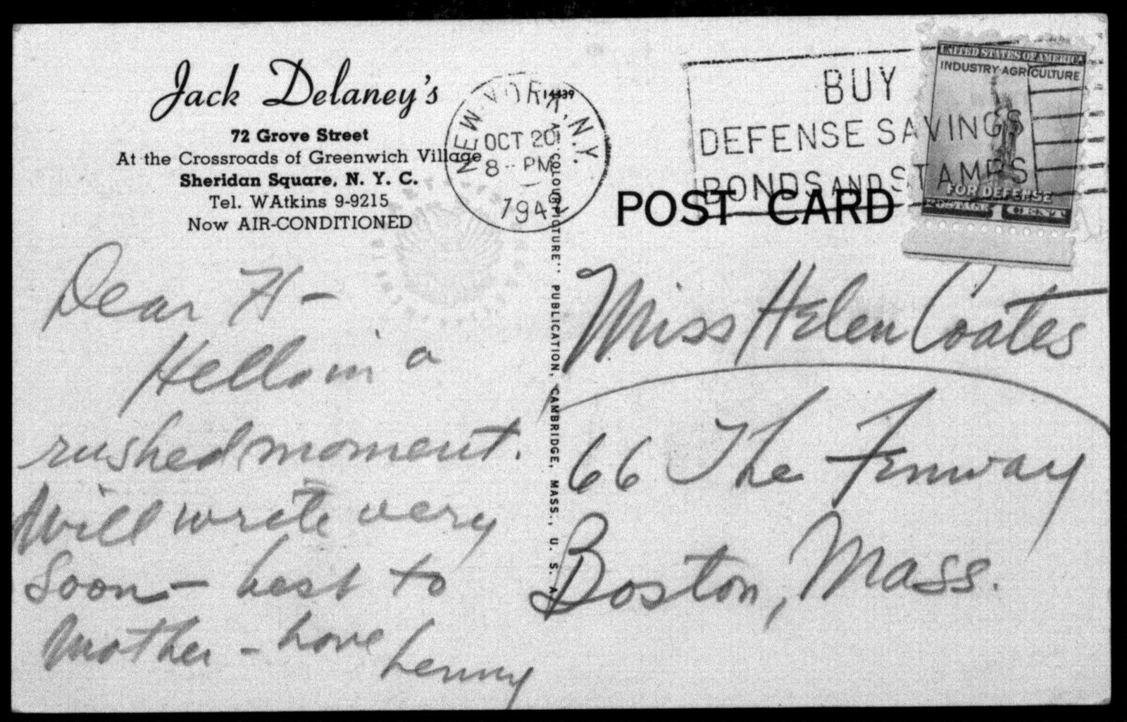 Letter from Leonard Bernstein to Helen Coates, October 20, 1942
