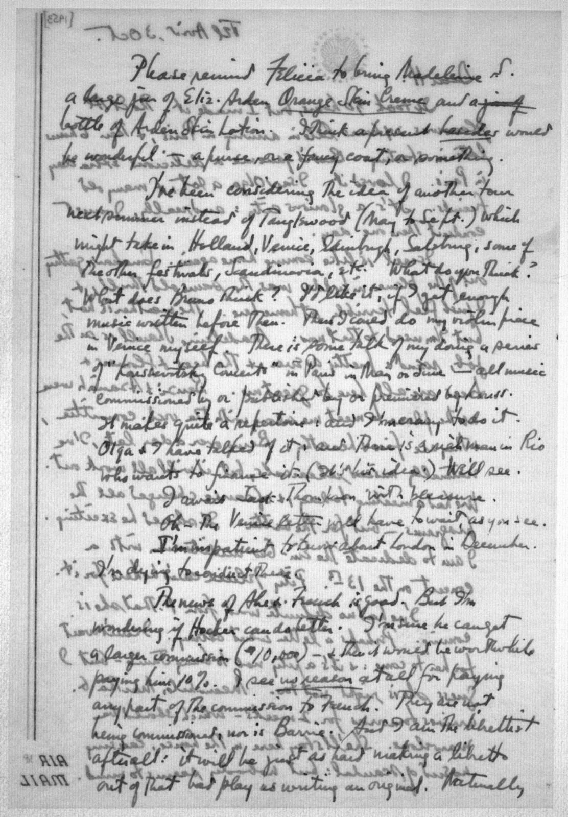 Letter from Leonard Bernstein to Helen Coates, October 3, 1953
