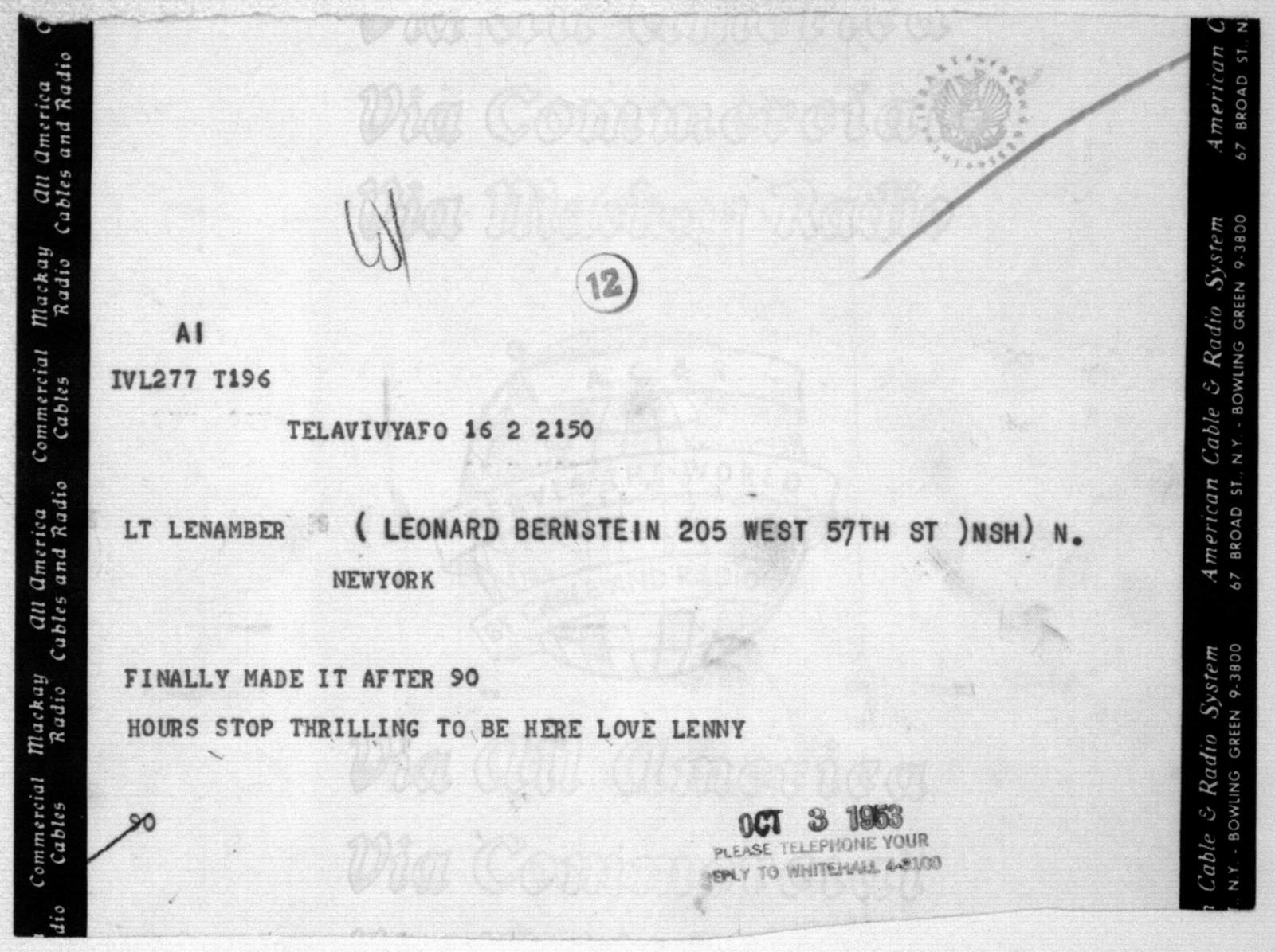 Letter from Leonard Bernstein to Helen Coates, October 3, 1963