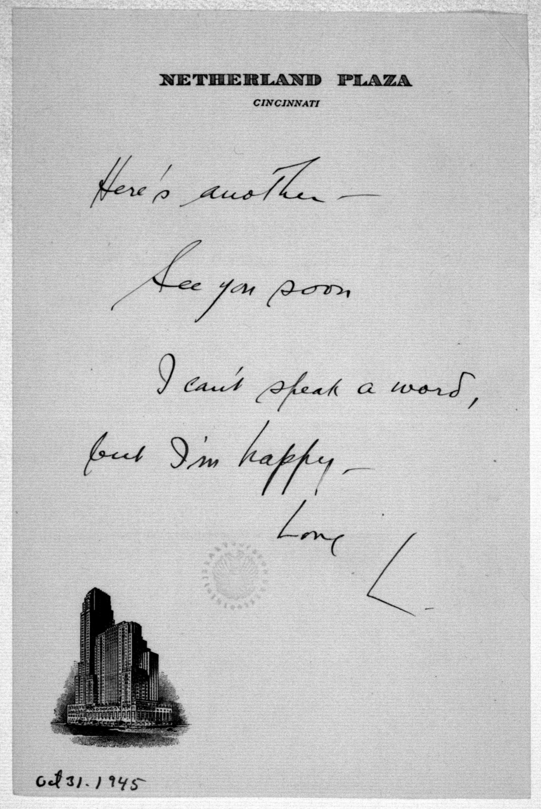Letter from Leonard Bernstein to Helen Coates, October 31, 1945