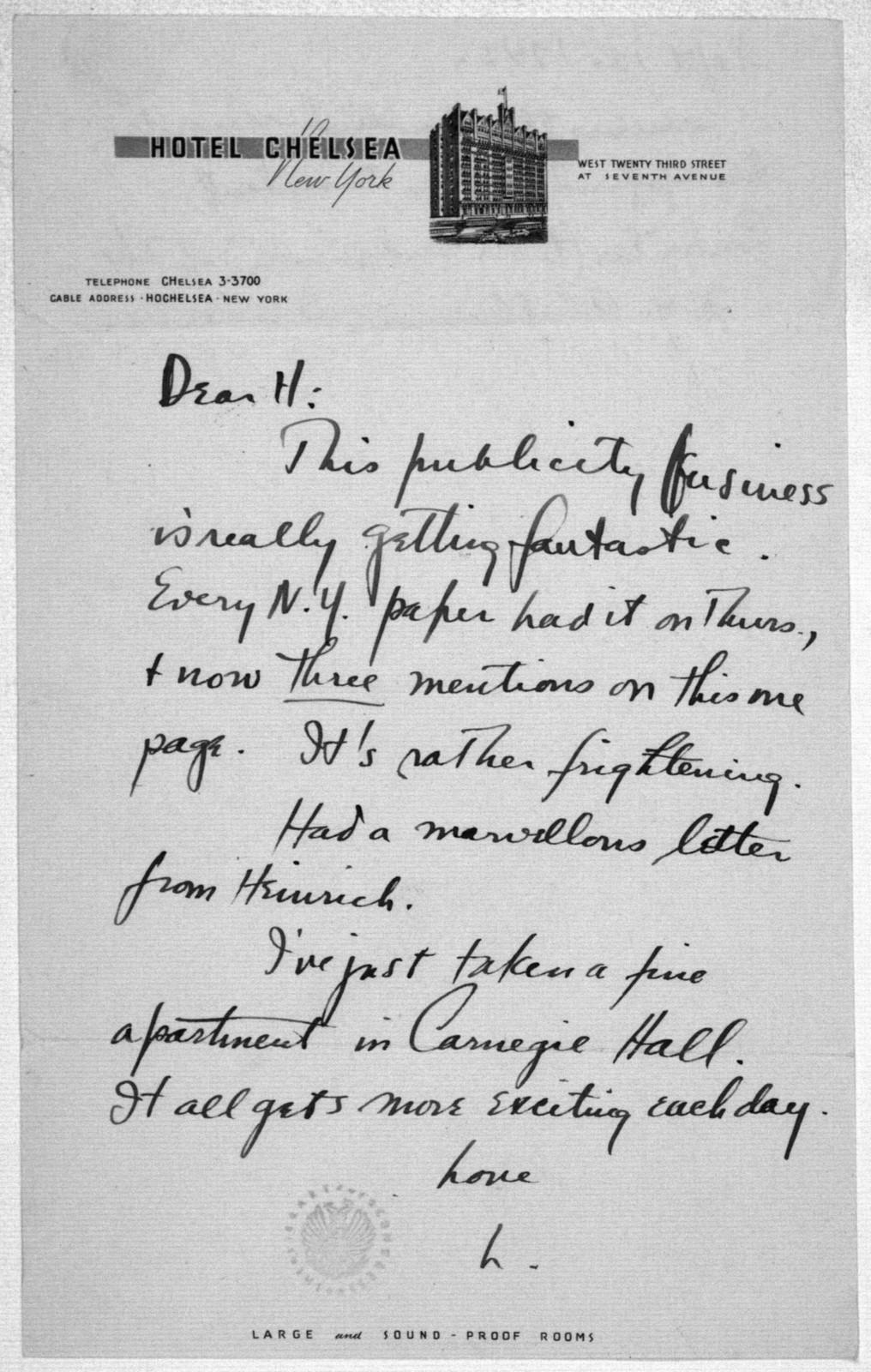 Letter from Leonard Bernstein to Helen Coates, September 13, 1943