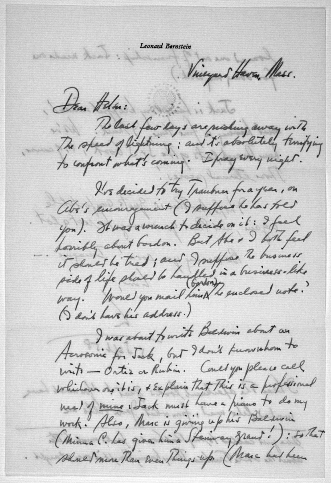 Letter from Leonard Bernstein to Helen Coates, September 5, 1958