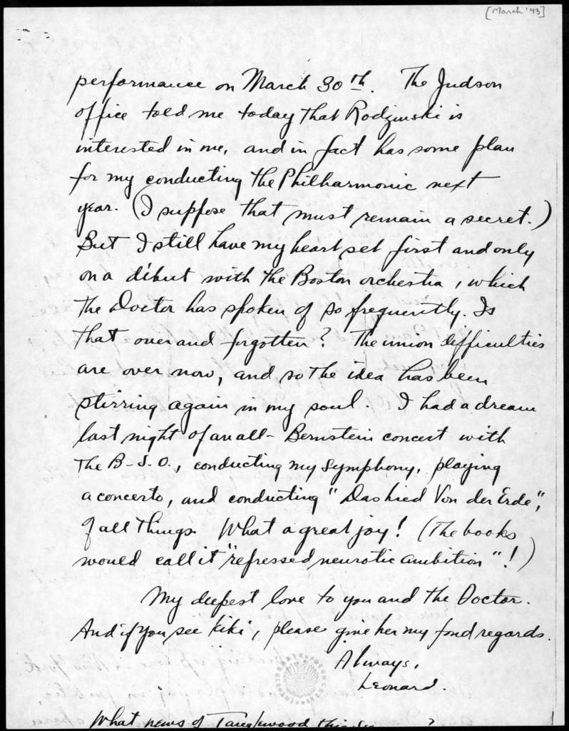 Letter from Leonard Bernstein to Olga Koussevitzky, March 1943