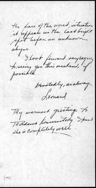 Letter from Leonard Bernstein to Serge Koussevitzky, 1941