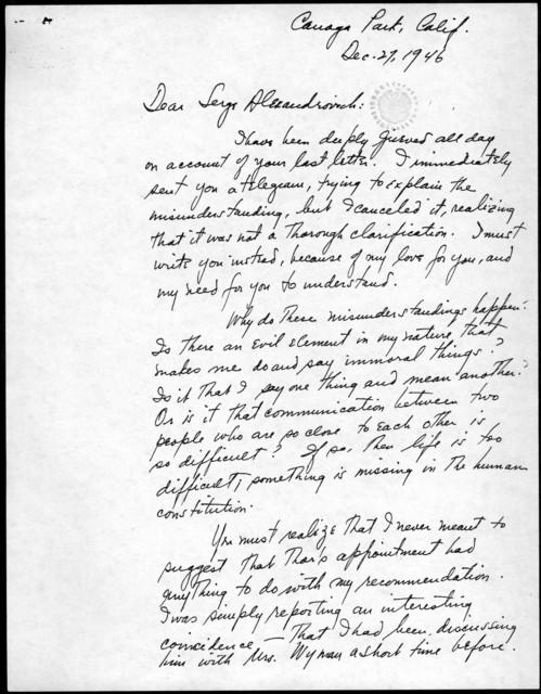 Letter from Leonard Bernstein to Serge Koussevitzky, December 27, 1946