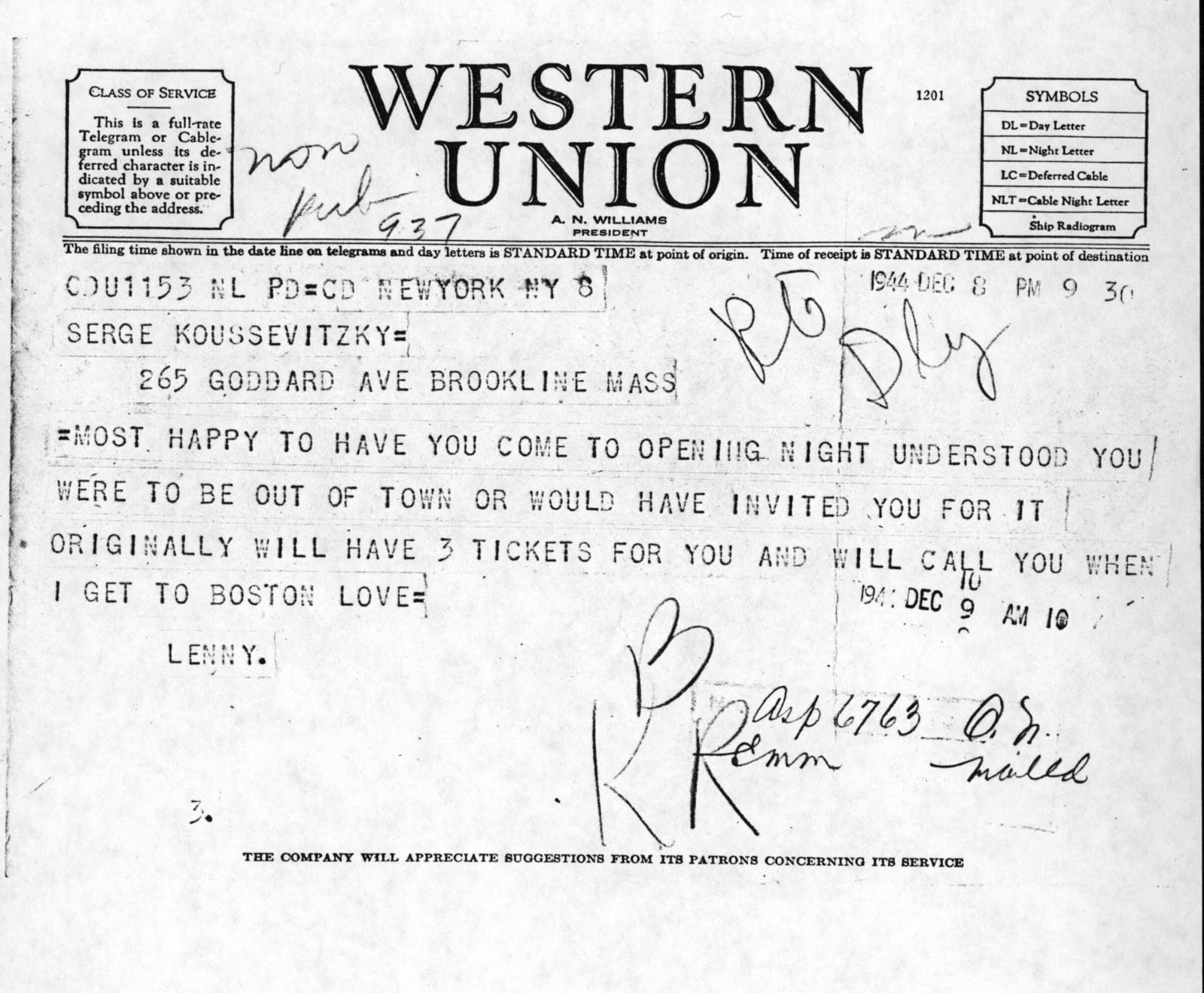 Letter from Leonard Bernstein to Serge Koussevitzky, December 8, 1944