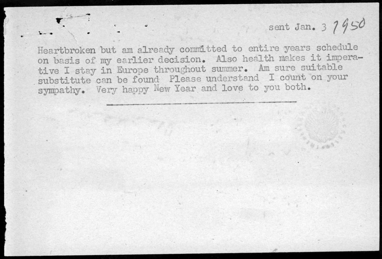 Letter from Leonard Bernstein to Serge Koussevitzky, January 3, 1950