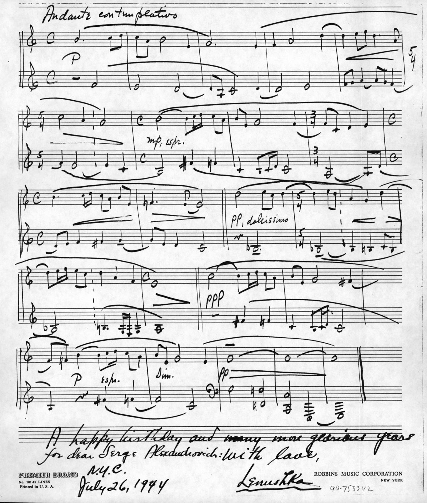 Letter from Leonard Bernstein to Serge Koussevitzky, July 25, 1944