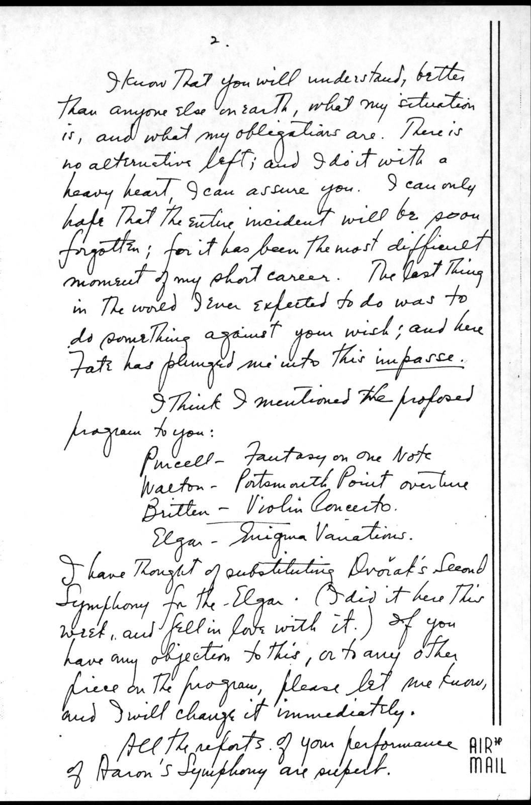 Letter from Leonard Bernstein to Serge Koussevitzky, n.d.