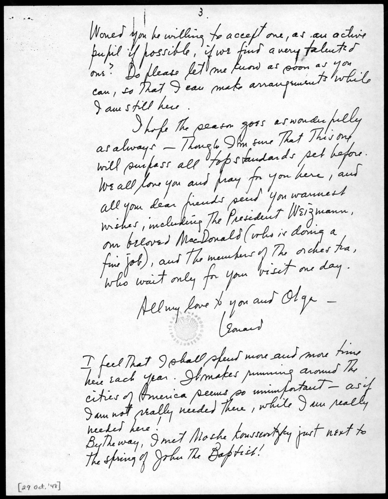 Letter from Leonard Bernstein to Serge Koussevitzky, October 29, 1948