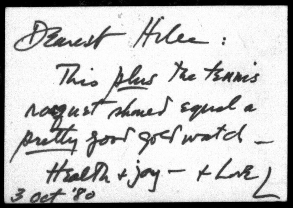 Letter from Leonard Bernstein to Shirley Bernstein, October 3, 1980