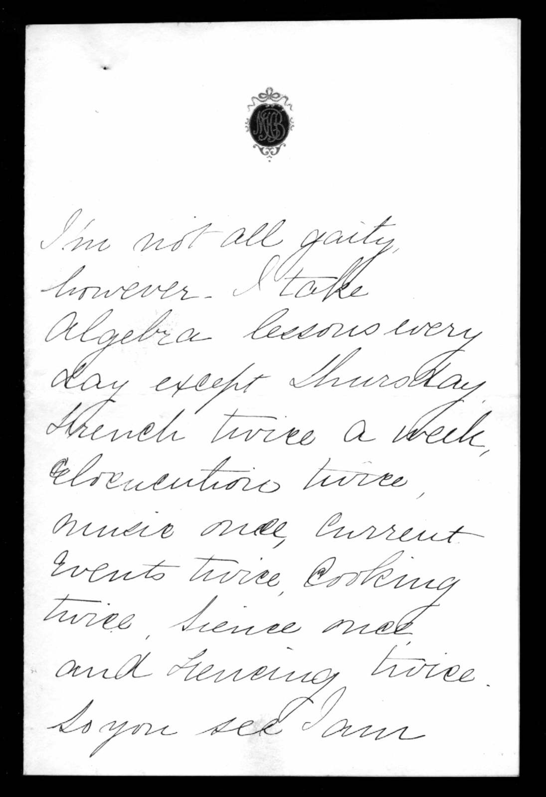 Letter from Marian Bell Fairchild to Alexander Graham Bell, undated
