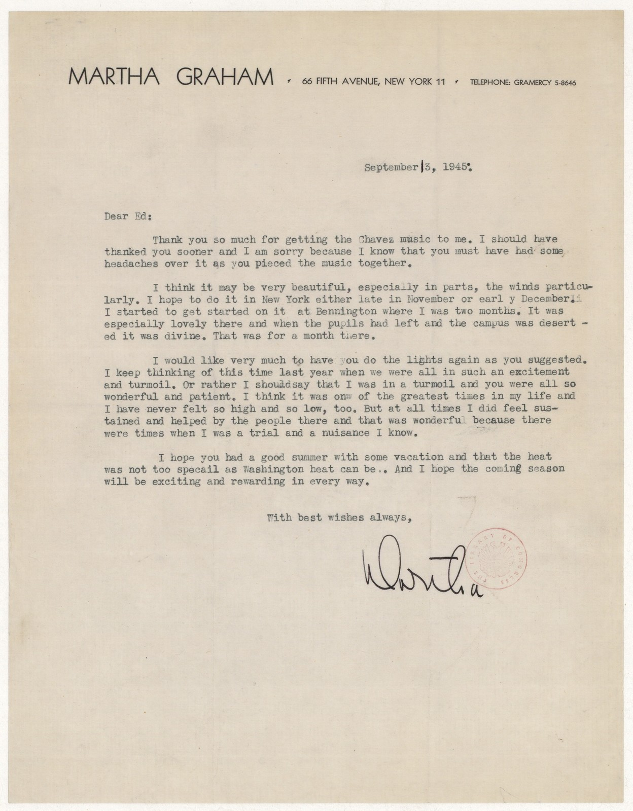 [ Letter from Martha Graham to Edward N. Waters, September 13, 1945]