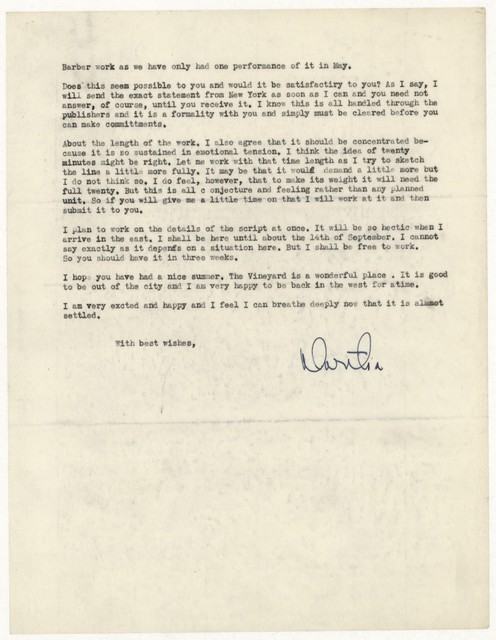[ Letter from Martha Graham to William Schuman, August 30, 1946]